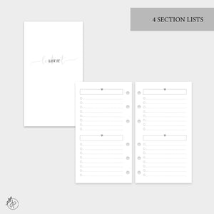 4 Section Lists - Personal Rings