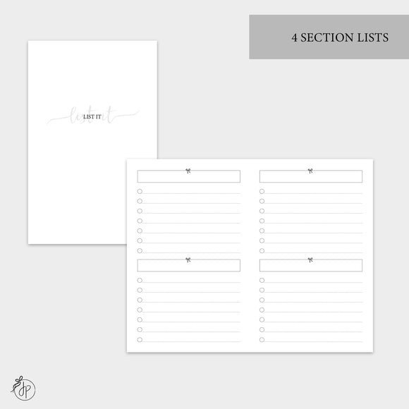 4 Section Lists - Pocket TN