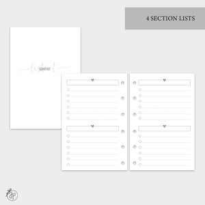 4 Section Lists - Pocket Rings