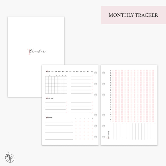 Monthly Tracker Pink - A5 Rings