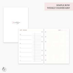 Simple Bow Weekly Dashboard Pink - A5 Rings