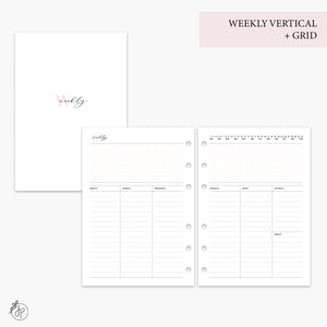 Weekly Vertical + Grid Pink - A5 Rings