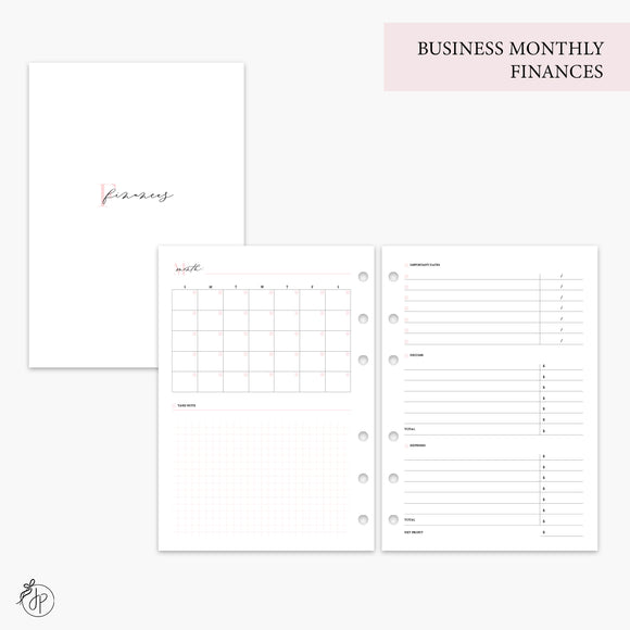 Business Monthly Finances Pink - A5 Rings