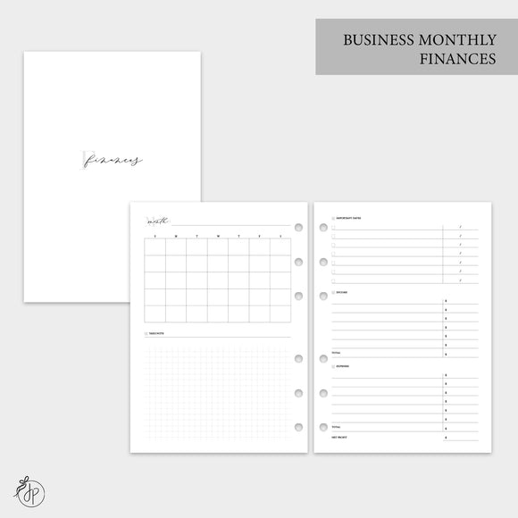 Business Monthly Finances - A5 Rings