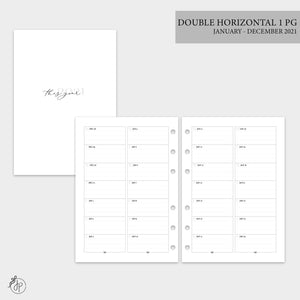 Double Horizontal on 1 Page 2021 - A5 Rings