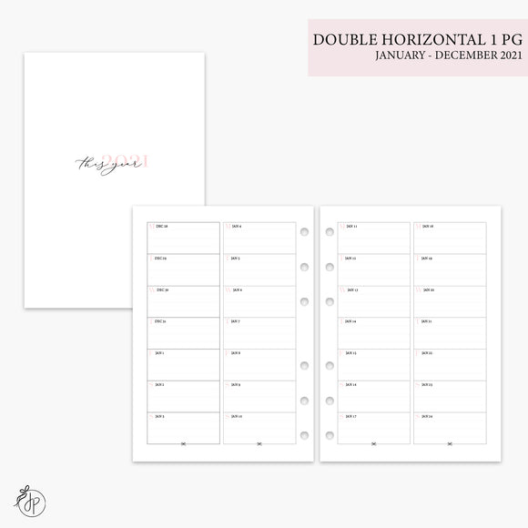 Double Horizontal on 1 Page 2021 Pink - A5 Rings