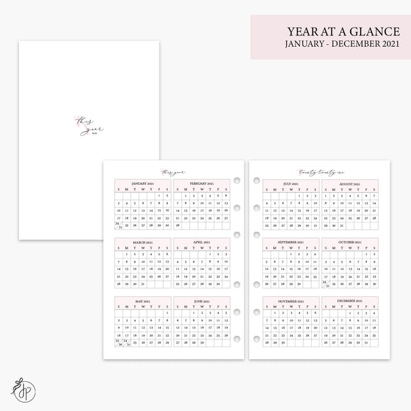 Year at a Glance 2021 Pink - A5 Rings