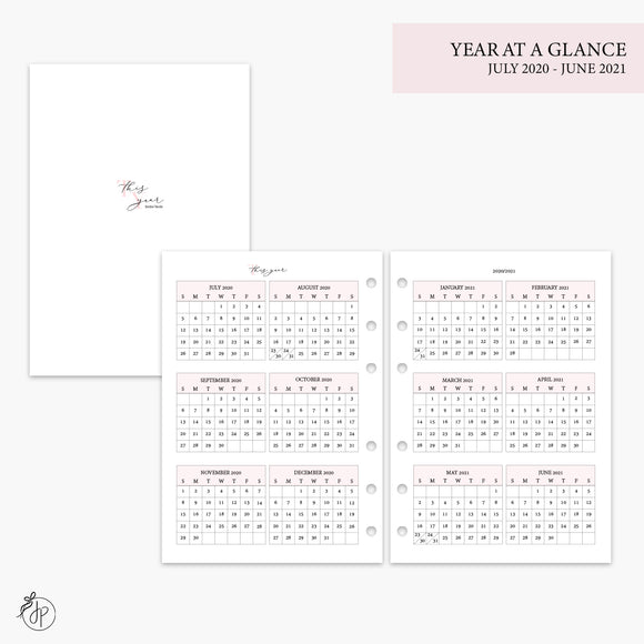 Year at a Glance 20/21 Pink - A5 Rings