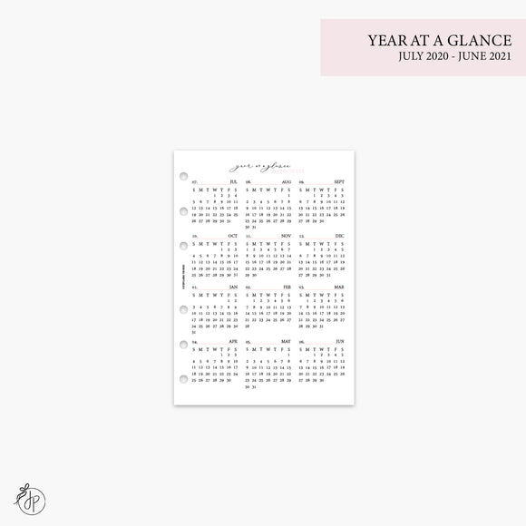 Year at a Glance 1 PG 20/21 Pink - A5 Rings