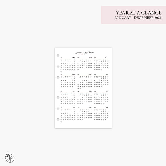 Year at a Glance 1 PG 2021 Pink- A5 Rings