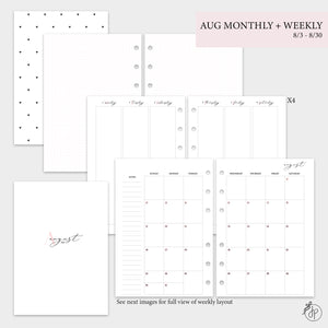 August Monthly + Weekly - A5 Rings