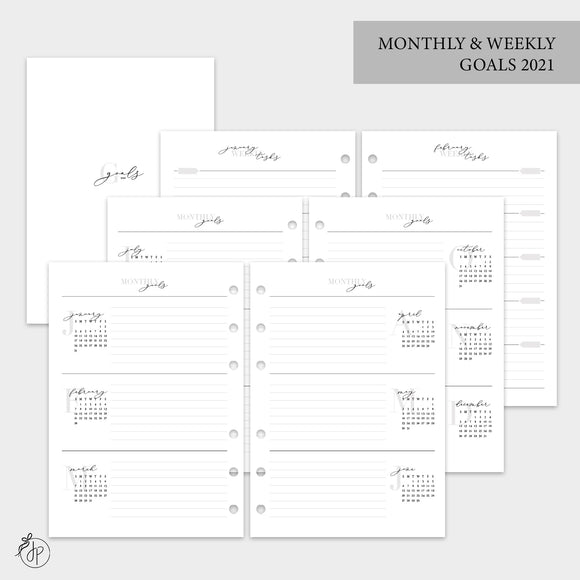 Monthly & Weekly Goals 2021 - A5 Rings