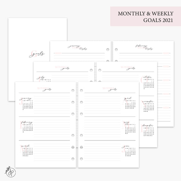 Monthly & Weekly Goals 2021 Pink - A5 Rings