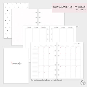 November Monthly + Weekly - A5 Rings