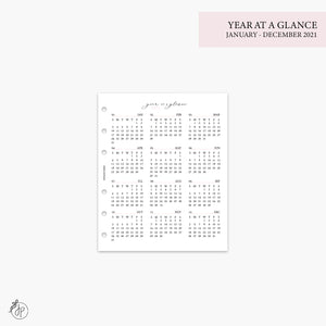 Year at a Glance 1 PG 2021 Pink - A5 Wide Rings