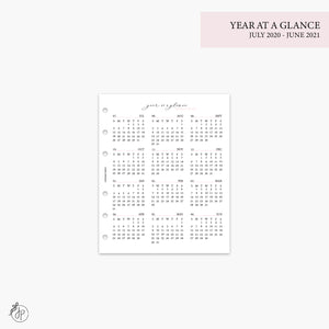 Year at a Glance 1 PG 20/21 Pink - A5 Wide Rings