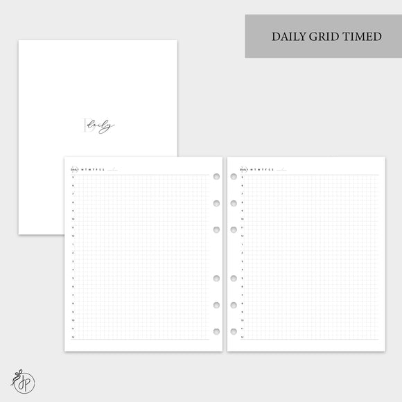 Daily Grid Timed - A5 Wide Rings