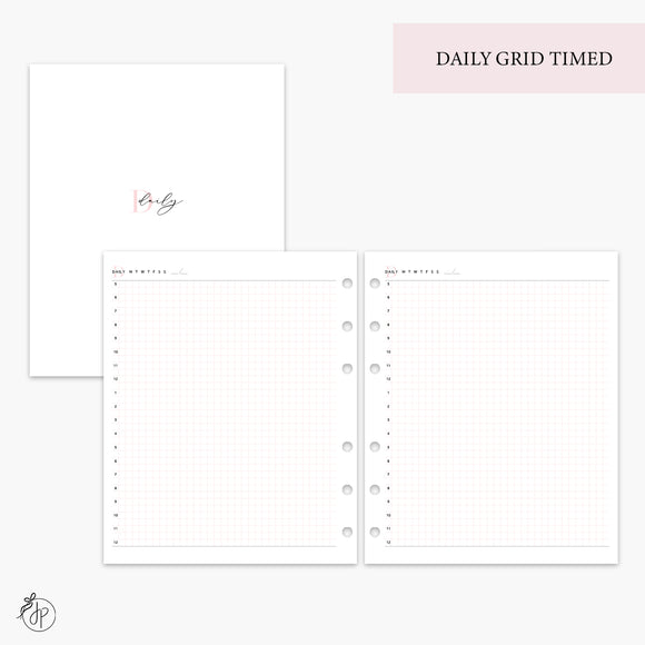 Daily Grid Timed Pink - A5 Wide Rings