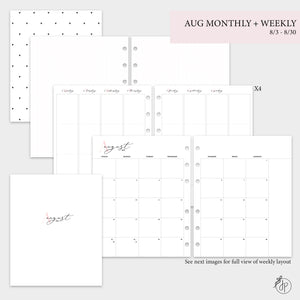 August Monthly + Weekly - A5 Wide Rings