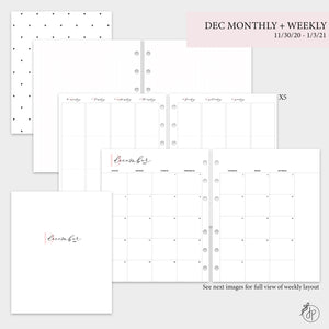 December Monthly + Weekly - A5 Wide Rings