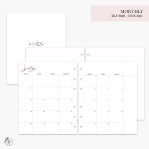 Monthly + Grid 20/21 Pink - A5 Wide Rings