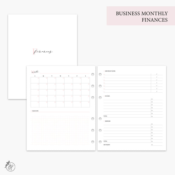 Business Monthly Finances Pink - A5 Wide Rings