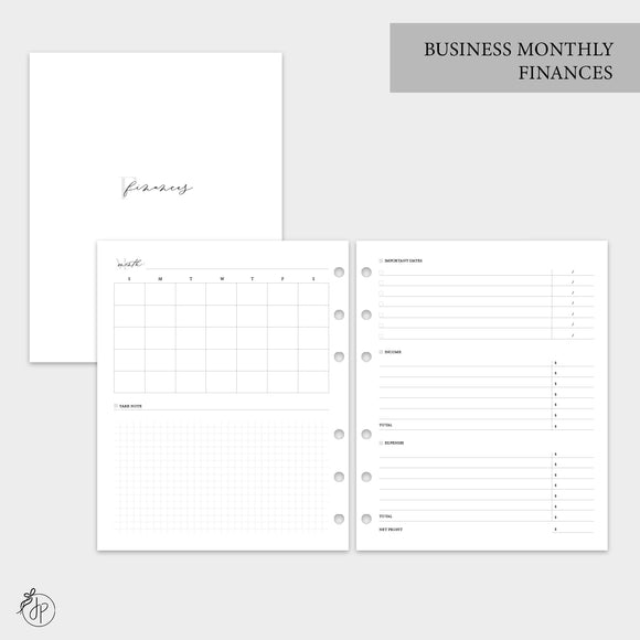 Business Monthly Finances - A5 Wide Rings