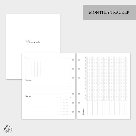 Monthly Tracker - A5 Wide Rings