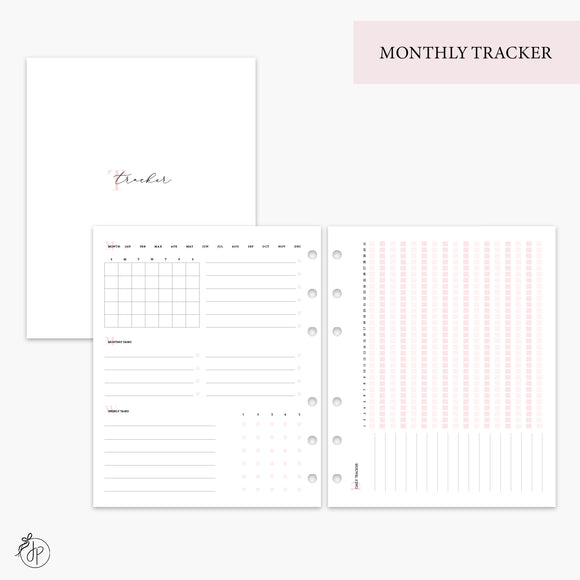 Monthly Tracker Pink - A5 Wide Rings