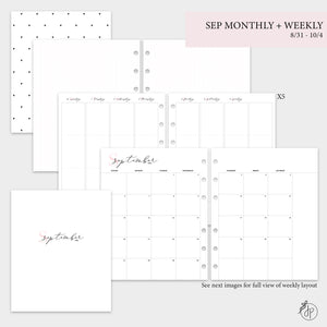 September Monthly + Weekly - A5 Wide Rings