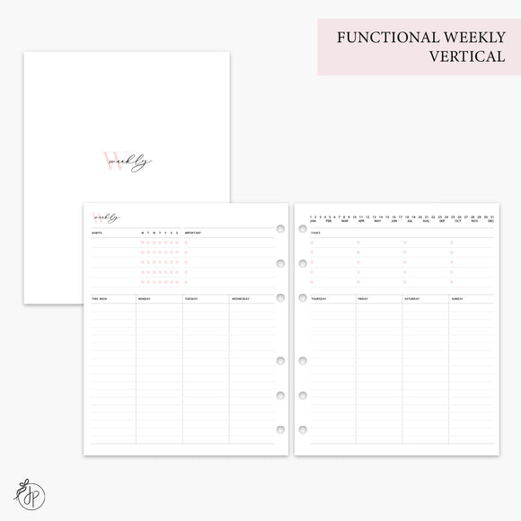 Functional Weekly Vertical Pink - A5 Wide Rings