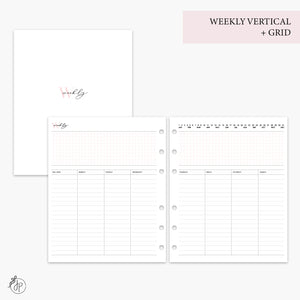 Weekly Vertical + Grid Pink - A5 Wide Rings