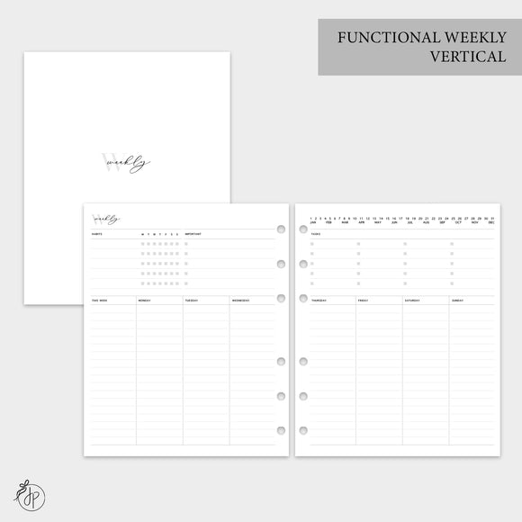Functional Weekly Vertical - A5 Wide Rings