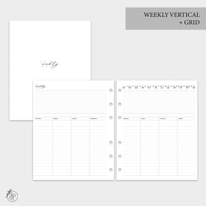Weekly Vertical + Grid - A5 Wide Rings