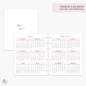 Year at a Glance 2021 Pink - A5 Wide Rings