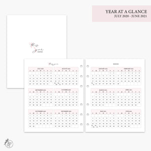 Year at a Glance 20/21 Pink - A5 Wide Rings