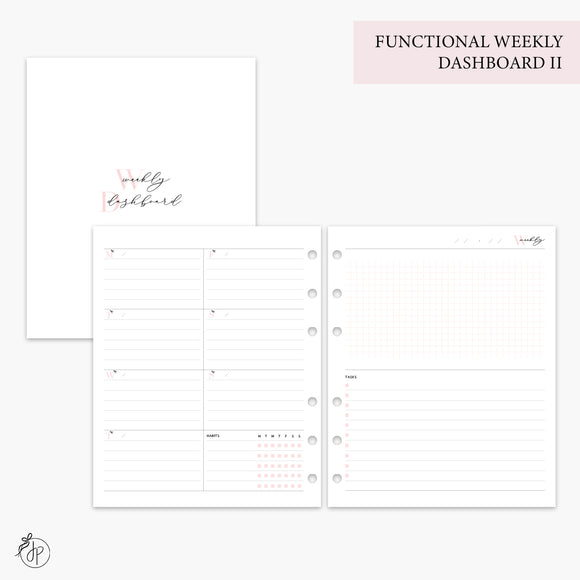 Functional Weekly Dashboard II Pink - A5 Wide Rings