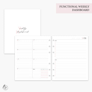 Functional Weekly Dashboard Pink - A5 Wide Rings