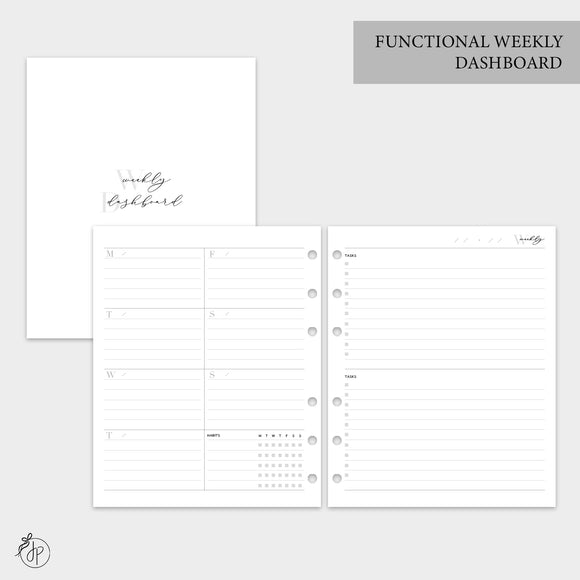 Functional Weekly Dashboard - A5 Wide Rings
