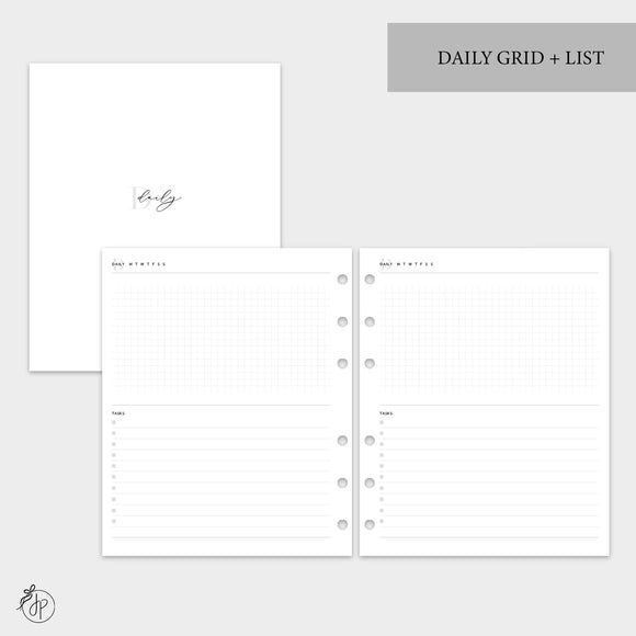 Daily Grid + List - A5 Wide Rings