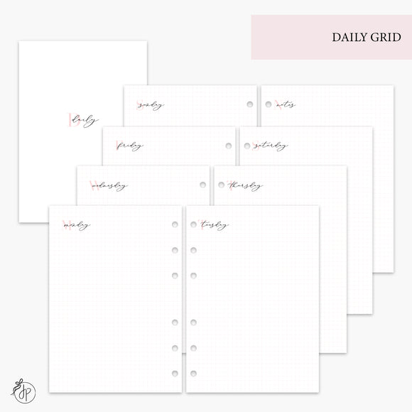 Daily Grid Pink - A5 Rings