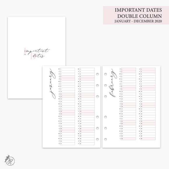 Important Dates Double Column 2020 Pink - A5 Rings