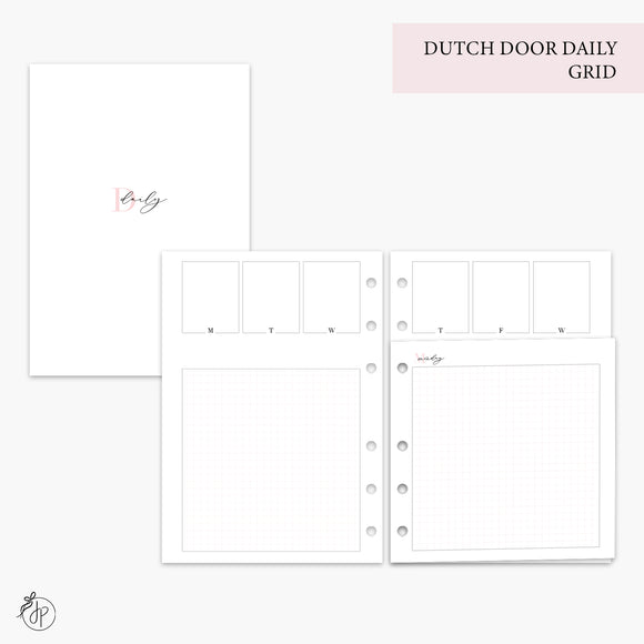 Dutch Door Daily Grid Pink - A5 Rings