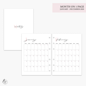 Month on 1 Page 2020 Pink - A5 Rings