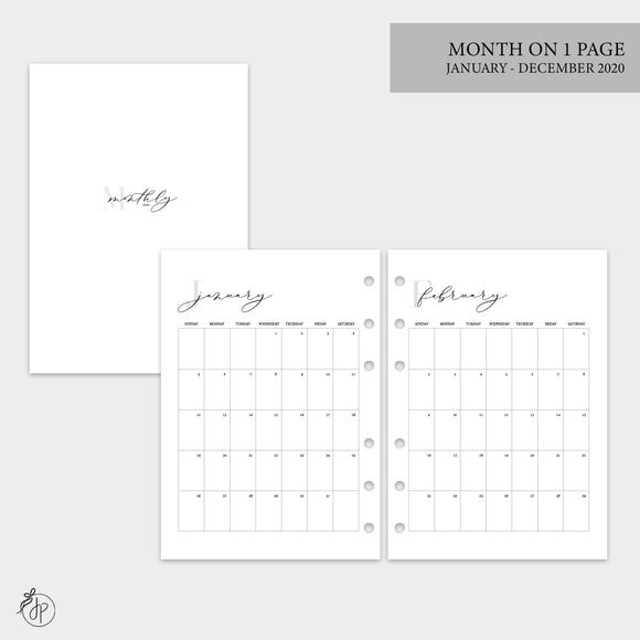 Month on 1 Page 2020 - A5 Rings