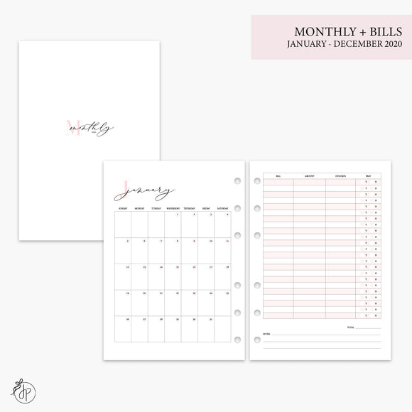 Monthly + Bills 2020 Pink - A5 Rings