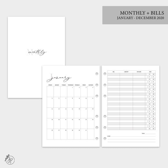 Monthly + Bills 2020 - A5 Rings