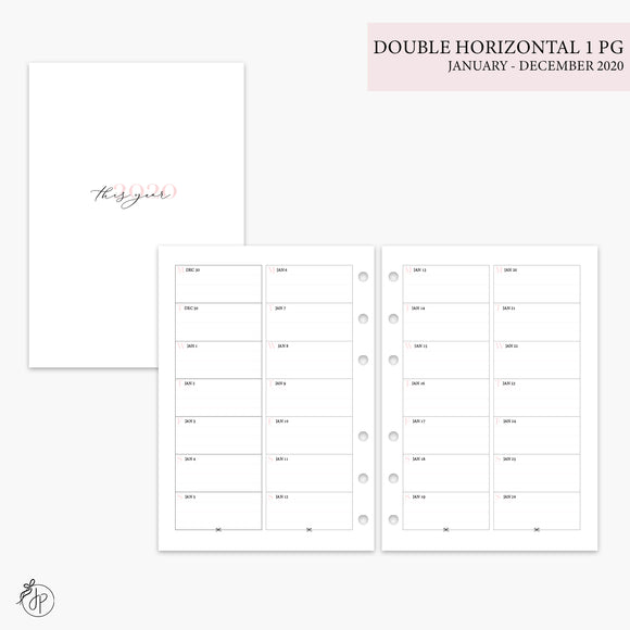 Double Horizontal on 1 Page 2020 Pink - A5 Rings