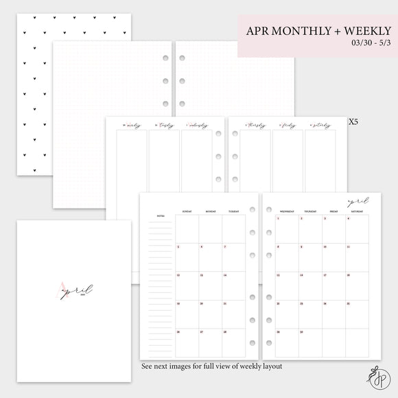 April Monthly + Weekly - A5 Rings