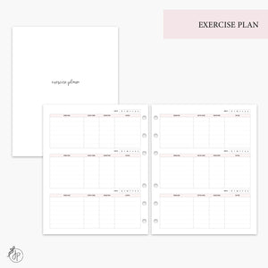 Exercise Plan Pink - A5 Wide Rings
